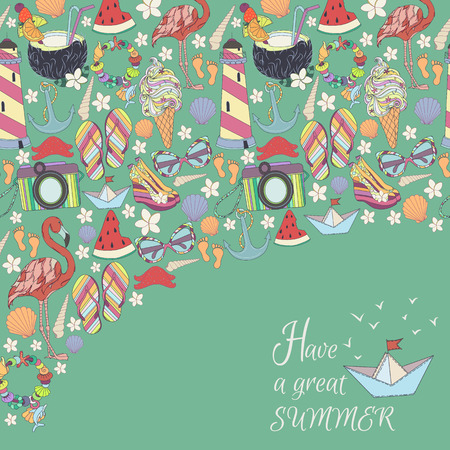 flamingos: Vector summer pattern. Pattern, set of different  travel, romantic things, summer, vacation holiday, summer things and clothings. Set of travelling symbols. Summer pattren. Enjoy life concept.
