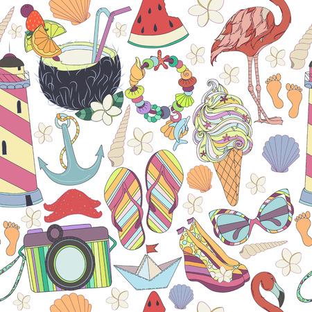 flamingos: Vector seamless pattern. Pattern, set of different  travel, romantic things, summer, vacation holiday, summer things and clothings. Set of travelling symbols. Summer pattren. Enjoy life concept.