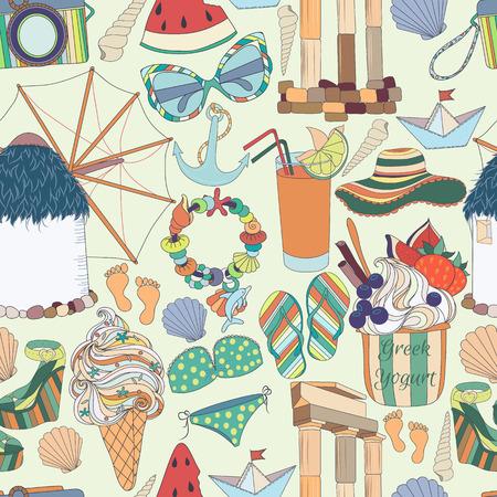 archaeological: Viaja vacaciones Grecia Seamless Pattern.Summer en Greece.Sunny Grecia: conjunto de diferentes viajes, cosas rom�nticas, verano, vacaciones de vacaciones, frutas, cosas de verano y clothings.Set de s�mbolos que viajan.