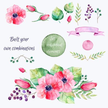 Flores del vector set.Colorful colección floral con hojas y flowersdrawing watercolor.Spring o verano diseño para invitationwedding o cards.2 saludo bandera bouquets1 para sus propias combinaciones