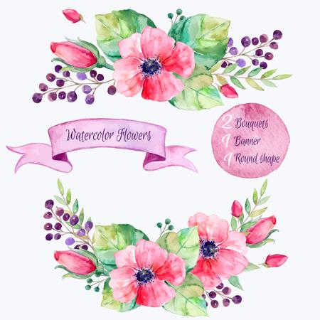 ベクターの花のセット。Flowersdrawing 水彩画の葉とカラフルな花のコレクション。独自の組み合わせの cards.2 の bouquets1 バナーを invitationwedding または