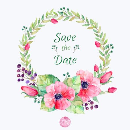 Vector bloemen set. Kleurrijke bloemen collectie met bladeren en bloemen waterverftekening. Lente of zomer ontwerp voor uitnodigingen wenskaarten of bruiloft. Bloemen kroon voor uw eigen combinaties
