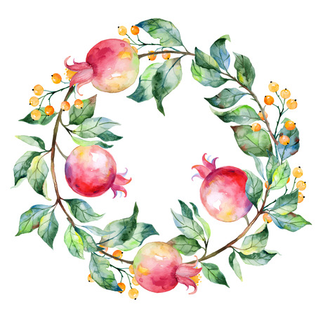pomegranate: Vector round frame of watercolor pomegranate and berries. Watercolor illustration wreath of pomegranate and leaves. Can be used as a greeting card for background birthday mother39s day and so on.
