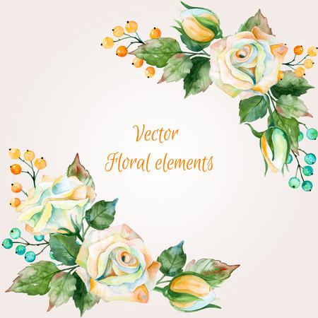 디자인, 수채화 꽃 부케의 집합입니다. 흰색 장미의 그림입니다. 자연 색상. 수채화 꽃입니다. 디자인을위한 꽃 요소