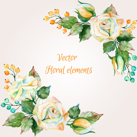 Set of watercolor floral bouquets for design. Illustration of white roses. Nature color. Watercolor flowers. Floral elements for your design