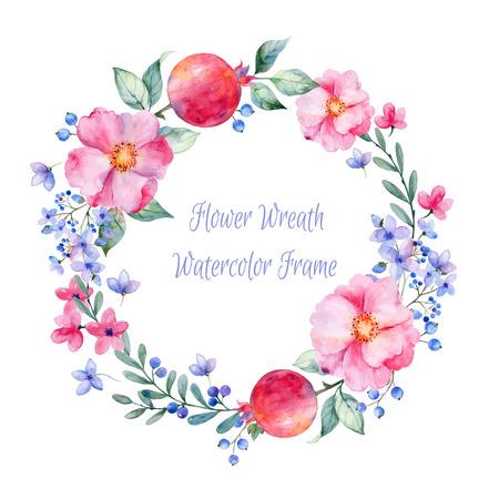 ベクトルはラウンド水彩バラのフレームです。ザクロとベリー。花の水彩イラストの花輪。使えるグリーティング カードとして背景の誕生日 mother39s  イラスト・ベクター素材