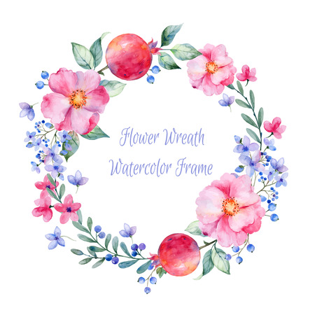 Vector round frame of watercolor roses. pomegranate and berries. Watercolor illustration wreath of flowers. Can be used as a greeting card for background birthday mother39s day and so on.