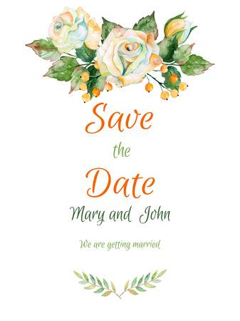 Vector mooie trouwkaart van de witte roos en andere. Aquarel rozen. Kan gebruikt worden als een wenskaart voor de achtergrond van de bruiloft of een ander ontwerp. Bloemen elementen voor uw ontwerp