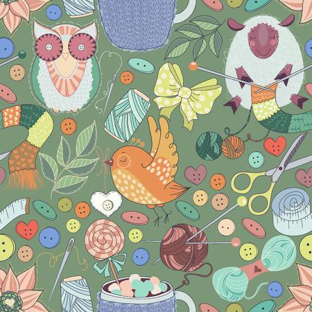 kit de costura: Doodles del kit de costura. Modelo incons�til con las ilustraciones de herramientas de costura. Conjunto costura encantadora en vector: otros art�culos scissorssewing y artesan�as. Conjunto de la vendimia en estilo de dibujos animados de colores impresionantes