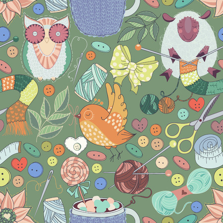 needlework: Sewing Kit Doodles. Seamless pattern with illustrations of sewing tools. Lovely needlework set in vector: other scissorssewing and handicrafts items. Vintage set in cartoon style in awesome colors Illustration
