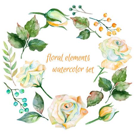 다른 흰색 꽃의 집합입니다. 딸기 및 디자인에 나뭇잎. 수채화 장미와 나뭇잎. 당신의 조성물 꽃 요소의 집합입니다.