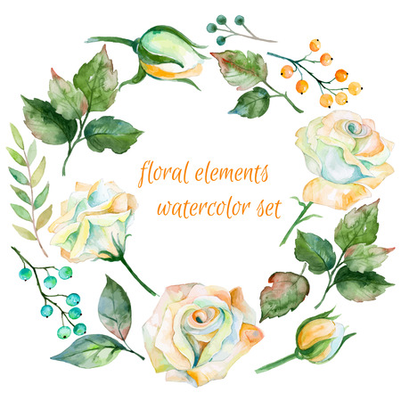 Set of different white flowers. berries and leaves for design. Watercolor roses and leaves. Set of floral elements for your compositions.