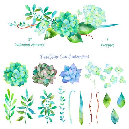花のベクトルを設定します。葉と花の水彩画を描くカラフルな花柄のコレクション。1 の美しい花の花束とカラフルな花のコレクション。あなたの作