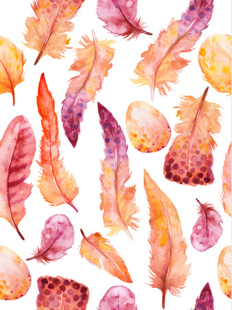 pluma: Plumas de la acuarela fijadas. Mano ilustración vectorial dibujado con plumas de colores. Modelo inconsútil con las plumas dibujadas a mano. Pluma aislada en el fondo blanco