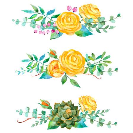 벡터 꽃 설정합니다. 잎과 꽃과 화려한 꽃 모음. 장미와 디자인을위한 3 아름다운 꽃다발 열매와 즙이 많은 식물 잎 일러스트