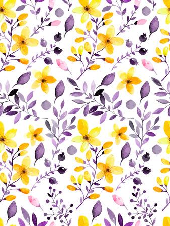 꽃과 잎 수채화 꽃 원활한 패턴입니다. 벡터 일러스트 레이 션
