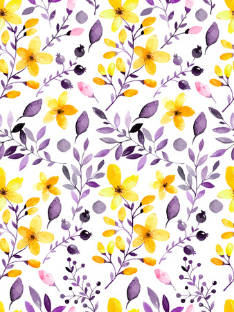 Watercolor floral seamless pattern with flowers and leafs. Vector illustration Фото со стока - 41543879