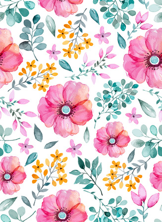 Watercolor floral seamless pattern with flowers and leafs. Colorful floral Vector illustration. Spring or summer hand made design for invitationwedding gold greeting cards can be used for wallpapers. Çizim