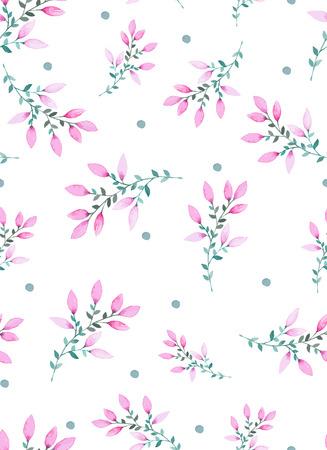 紫色の花の水彩花のシームレスなパターン。ベクトル図の手で花を描きます。花に不可欠なパターン。  イラスト・ベクター素材