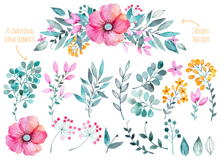 Vector floral set.Colorful purple floral collection with leaves and flowers, drawing watercolor.Colorful collection with floral flowers1 bouquet.Set of beautiful floral elements for your compositions. Illusztráció
