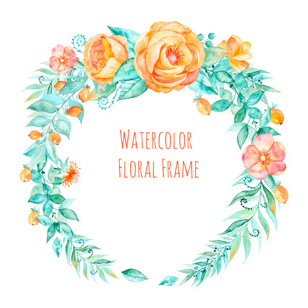 Vector colorful watercolor round frame floral wreath with spring-summer flowers and central white copy space for your text. Vector hand drawn wreath with roses, leaves, branches.
