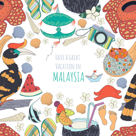 Seamless pattern of traditional things in Malaysia: Malaysian food, traditional kite set of different travel, holiday vacation, summer things, nature of Borneo, with text.Malaysia background.Summer pattren