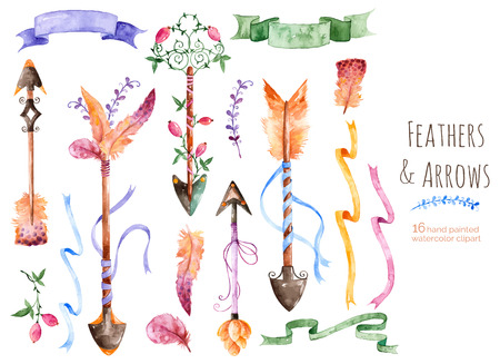 Hand painted watercolor collection for your design with romantic arrows, feathers, ribbons and banners.Hand painting.Vector Watercolor drawing design elements for Valentines Day, wedding and others. Ilustração