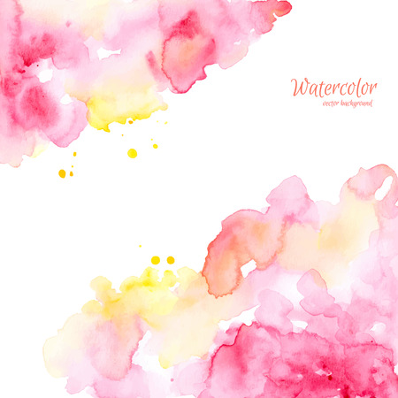 Abstracte roze gele hand getrokken waterverfachtergrond, vectorillustratie. Waterverfsamenstelling voor plakboekelementen. Waterverfvormen op witte achtergrond.