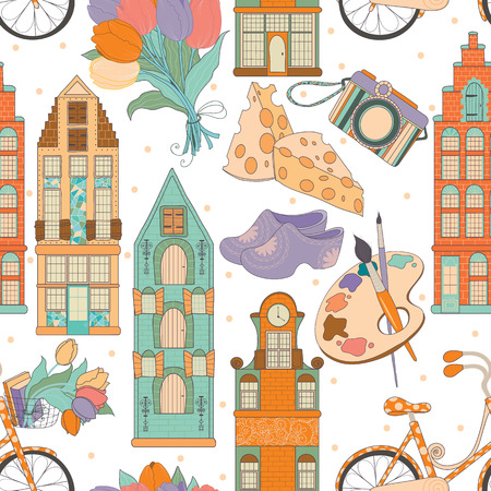 clogs: Travel seamless pattern.Set of traditional things of Netherlands: buildings, tulips, bike, cheese, shoes.Set of different travel, romantic things, vacation holiday in Netherlands.Set of traveling symbols