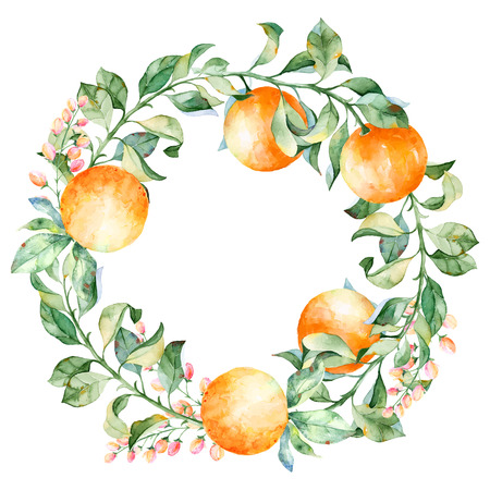 Vector round frame of watercolor orange and flowers. Watercolor illustration wreath of mandarin and leaves. Can be used as a greeting card for background, birthday, mothers day and so on. Ilustração