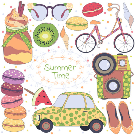 summer fruits: Summer time pattern: set of different travel, romantic things, summer, vacation holiday, fruits, summer things, bicycle, car, camera.Set of travelling symbols.Travel doodles elements.Vector illustration