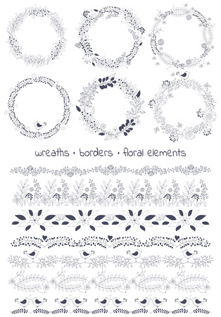 flower leaf: Vector design toolkit includes: 6wreaths, 7borders and individual floral elements.Easy to change the colors and creating logos with leaves and flowers.Floral hand drawn elements.Big set floral elements Illustration