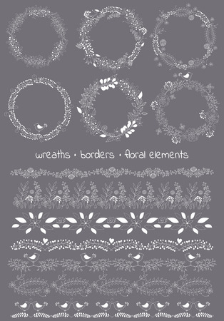 bush: Vector design toolkit includes: 6wreaths, 7borders and individual floral elements.Easy to change the colors and creating logos with leaves and flowers.Floral hand drawn elements.Big set floral elements Illustration