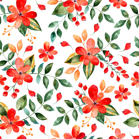 Watercolor floral seamless pattern with red flowers and leafs. Colorful floral Vector illustration. Summer Autumn gold hand made design for invitations, greeting cards or wedding, can be used for wallpapers.
