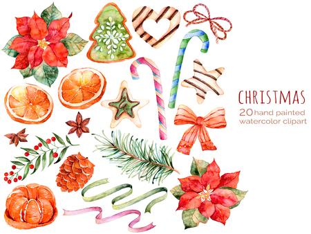 aquarelle: Collection de Noël: bonbons, poinsettia, anis, orange, pomme de pin, des rubans, noël cakes.You peut créer ses propres schémas, cartes de voeux, invitations, la conception du parti, décorer blog, quoi que ce soit sur le thème de Noël