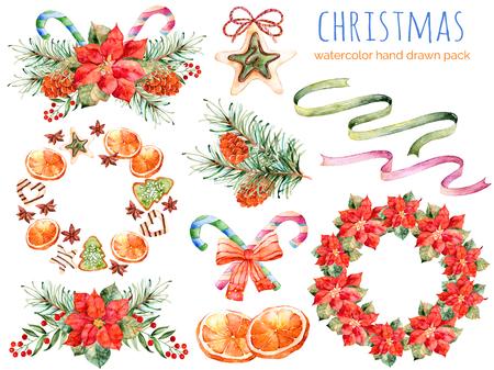 flor de pascua: Colección de Navidad: coronas, poinsettia, ramos, naranja, piña de pino, cintas, navidad cakes.You puede crear patrones propios, tarjetas de felicitación, invitaciones, diseño de la fiesta, decorar blog, todo es tema de Navidad