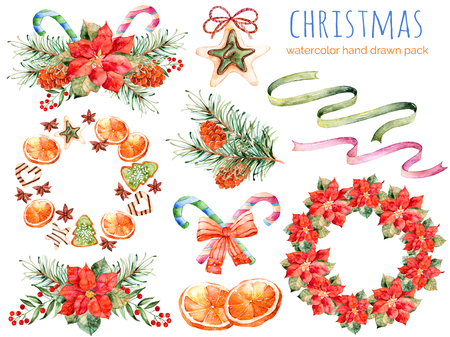 Christmas collection: wreaths, poinsettia, bouquets, orange, pine cone, ribbons, christmas cakes.You can create own patterns, greeting cards, invitations, party design, decorate blog, anything is Christmas theme Stockfoto
