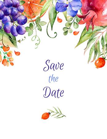 Kleurrijke aquarel bloemenboeket-frame met rozen, bladeren, granaatappel, orchideeën, calla, grapes.Can worden gebruikt als wenskaart voor de achtergrond, verjaardag, huwelijk en dus on.Watercolor kleuren Floral frame.Indian Stockfoto - 47038327