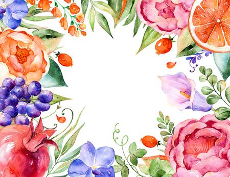 カラフルな水彩花ブーケ フレーム バラ、葉、ザクロ、蘭、カラー、ブドウ。背景、誕生日、結婚式にグリーティング カードとして使用できます。 写真素材