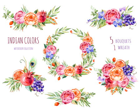 Colorful floral collection with roses, flowers, leaves, pomegranate, grape, callas, orange, orchids, peacock feather.5 beautiful bouquet and 1wreath for your own Colors design.Floral collection.Indian Stockfoto