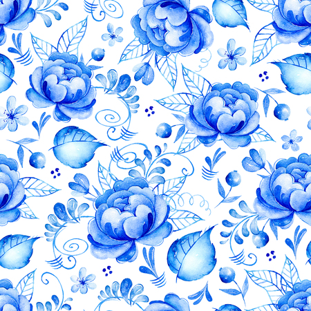 blue flowers: Abstract watercolor floral seamless pattern with folk art flowers.Blue white ornament. Background with blue-white flowers, leaves, curls, berries, Can be used for postcards, invitations, wedding, brochure. Stock Photo