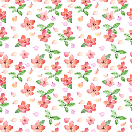 watercolor texture: Watercolor floral seamless pattern with spring flowers and delicate floral leafs.Colorful illustration.Springtime hand made design for invitations, greeting cards or wedding, can be used for wallpapers