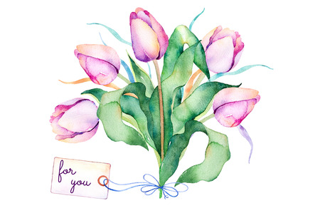 springtime: Pre-made greeting card.Spring Springtime bouquet with branches, delicate purple tulips, leaves, and text For You on watercolor background. Watercolor illustration. Springtime greeting card.