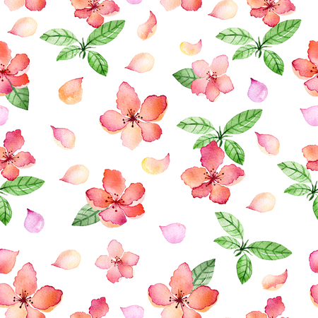 Watercolor floral seamless pattern with spring flowers and delicate floral leafs.Colorful illustration.Springtime hand made design for invitations, greeting cards or wedding, can be used for wallpapers