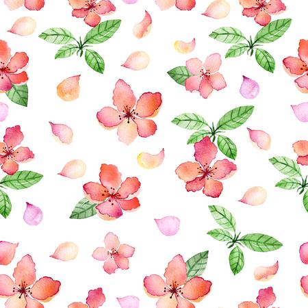 Watercolor naadloze bloemmotief met lentebloemen en delicate bloemige leafs.Colorful illustration.Springtime de hand gemaakte ontwerp voor uitnodigingen, wenskaarten of huwelijk, kan worden gebruikt voor wallpapers Stockfoto