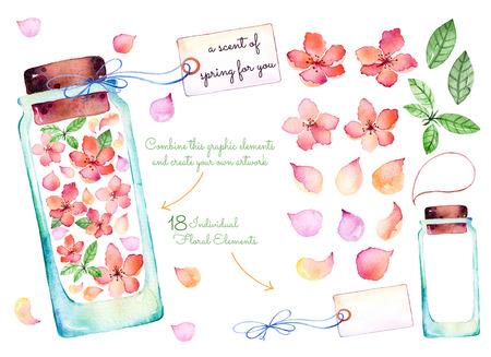 flor de cerezo: colección de la acuarela de color púrpura: 18 de los elementos individuales para su diseño con delicadas flores de primavera, hojas, pétalos de flores, frascos de vidrio, la etiqueta para su message.Keep un aroma de primavera para sí mismo! Foto de archivo
