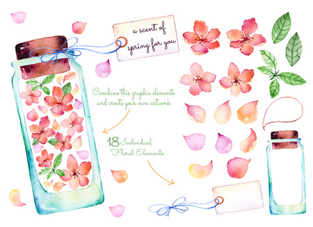 Purple watercolor collection: 18 of individual elements for your design with delicate spring flowers, leaves, flower petals, glass jars, label for your message.Keep a scent of spring for yourself!