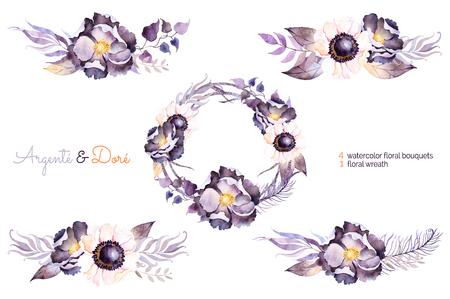 bodas de plata: colección de la acuarela con la flor, hojas, rama, colección feather.Hand pintado con la guirnalda de la acuarela y ramos de flores para su composition.Can ser utilizado para la invitación de boda, tarjeta de felicitación y más