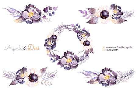 wedding clipart: Watercolor collection with flower, leaves, branch, collection feather.Hand painted with watercolor wreath and bouquets for your composition.Can be used for wedding invitation, greeting card and more