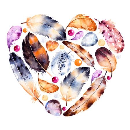 pintura abstracta: Tarjeta de la plantilla hermosa para el día de San Valentín feliz. ejemplo pintado a mano. Corazón de la acuarela de las plumas. Ilustración dibujados a mano con plumas de colores y huevos Foto de archivo